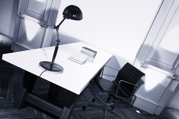 Study interior with a desk and anglepoise lamp