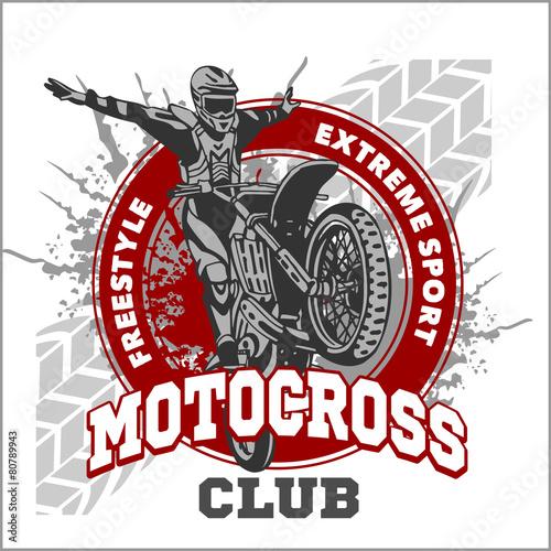 Motocross sport emblem - 80789943