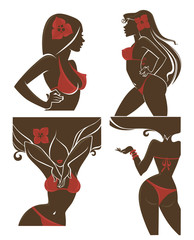 vector girls in red swimsuit