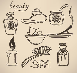 hand drawn beauty and spa sign, icons, emblems and symbols