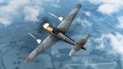 Messerschmitt Bf 109 Airplane in dogfight