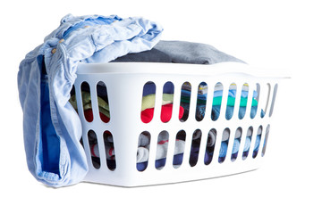 Folded Clean Clothes in a White Plastic Basket
