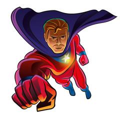Superhero flying. Superhero in action. Vector Illustration