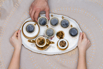 Six Cups of Turkish Coffee on a White Tray