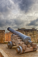 Closeup view to gun at Valetta fort