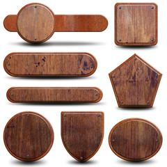 8 plaques bois et métal