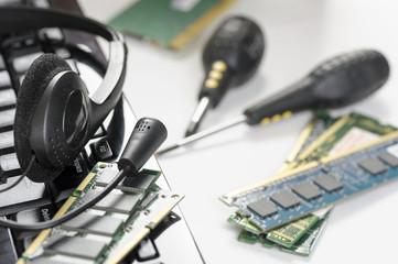 Headset on keyboard