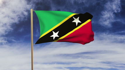 Saint Kitts And Nevis flag waving in the wind. Green screen