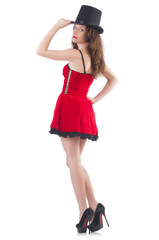 Female model posing in red mini dress isolated on white