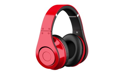 red and black wireless headphones loop rotate on white