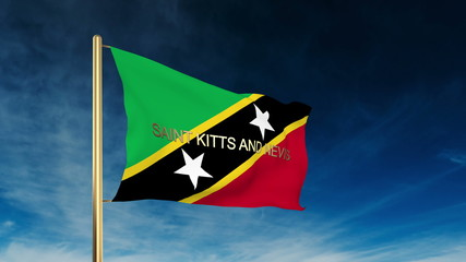 Saint Kitts And Nevis flag slider style with title. Waving in