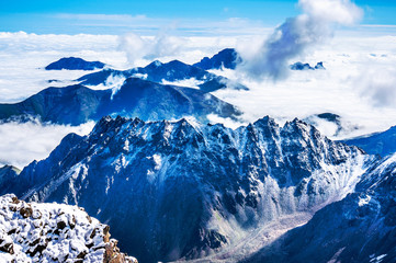 The mountains over the clouds