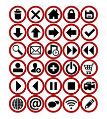 web icons red set