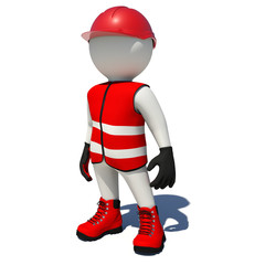 Worker in red overalls. Isolated