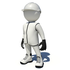 Worker in white overalls. Isolated