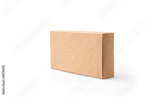 Leinwanddruck Bild brown package box on isolated background