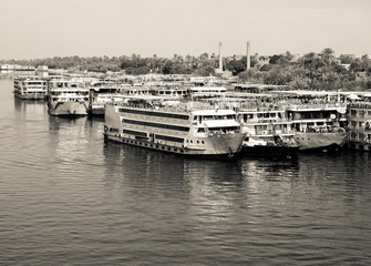 Vintage photo with old cruise ships on the Nile.