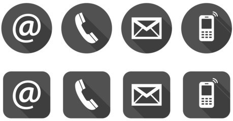 Set of web dark gray flat icons, two variants - Contact Us