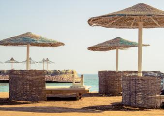 beach umbrellas on a tropical beach