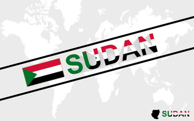 Sudan map flag and text illustration