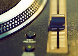 vinyl disc on retro turntable