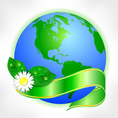 Postcard on Earth day. Globe with green ribbon and flower