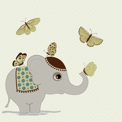 Cute elephant and butterflies