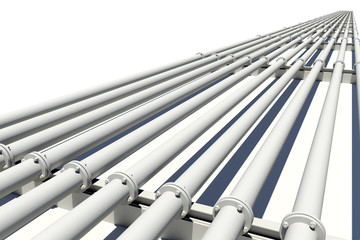 Many pipes stretching into distance. Isolated
