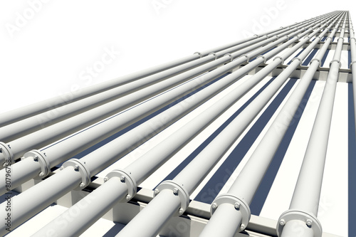 Many pipes stretching into distance. Isolated - 80796758
