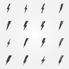 Lightning black vector icons
