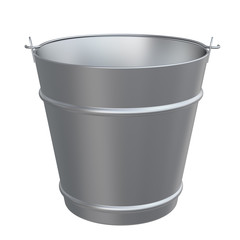 Metal bucket. Front view. Isolated