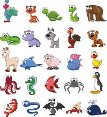 Набор мультфильм каракули животных, вектор