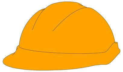 Industrial orange hard hat. Vector illustration
