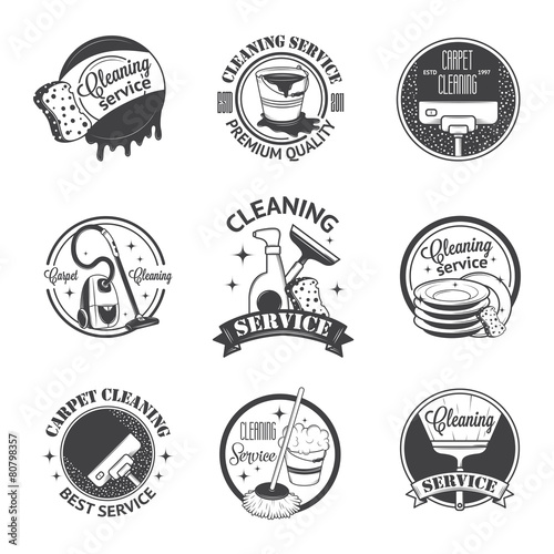 Set of vintage logos, labels and badges cleaning services - 80798357