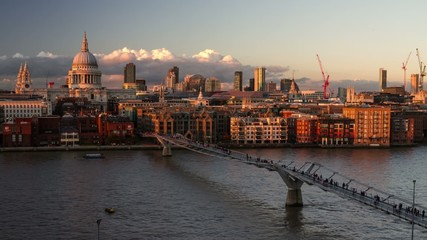 HD time lapse video of St Paul's and Thames from Tate, London
