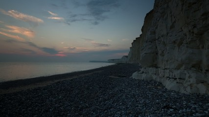HD time lapse, sunset at Birling Gap, Sussex, England