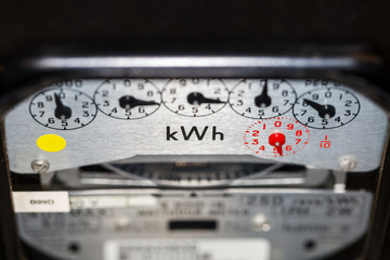 kWh electric home meter and dials
