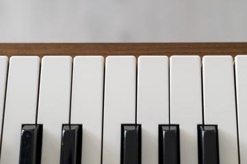 View of the piano keys