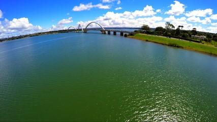 Aerial View of Juscelino Kubitschek Bridge in Brasilia, Brazil