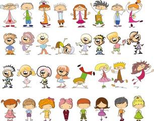 Симпатичные счастливым мультфильм каракули детей