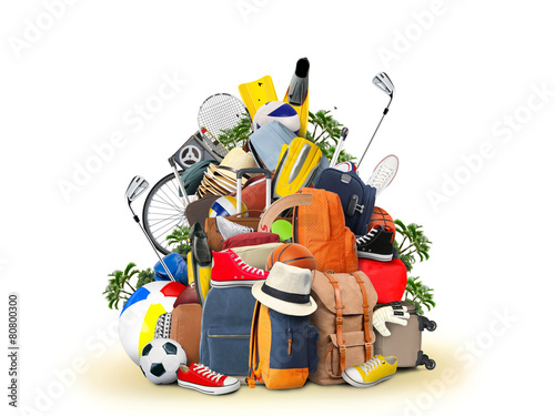 Vacation and travel, a huge pile of things for the holiday - 80800300