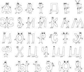 Coloring page funny alphabet
