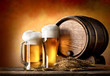 canvas print picture - Beer and barrel