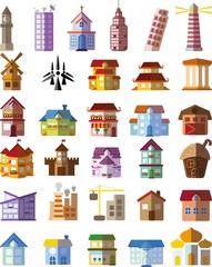 Набор векторных многоквартирных домов,