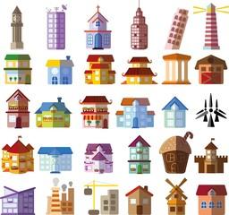 Набор различных иконок зданий и жилых домов в плоском стиле