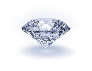 Beautiful white diamond on white background
