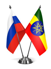 Russia and Ethiopia - Miniature Flags.