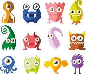 Векторный набор чертежей,  разные характеры монстров, микробов