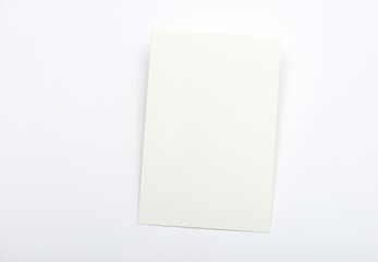blank white card on a light background
