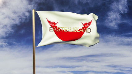 Easter Island flag with title waving in the wind. Looping sun